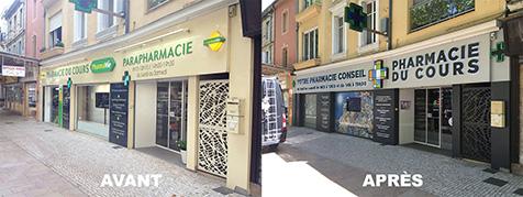 Réalisation d'un habillage de façade pour la Pharmacie du Cours à Chateaurenard