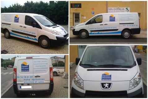 Habillage de véhicule utilitaire pour Alpilles Piscines Services à Saint-Rémy de Provence